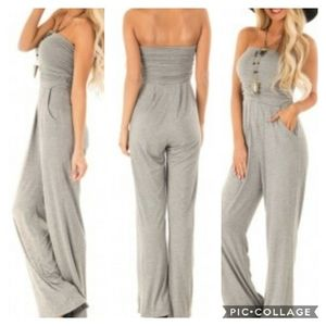 Sexy Strapless Gray Jumpsuit Size M